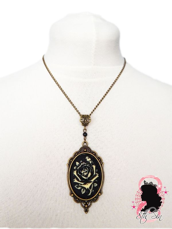 Antique Bronze Rose Cameo Necklace